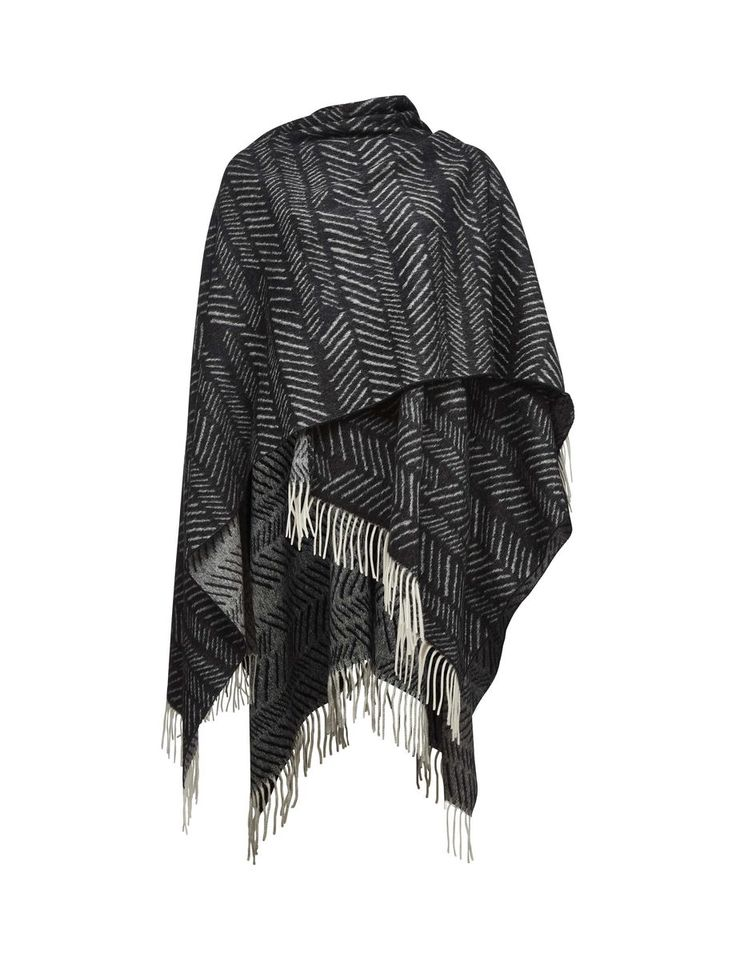 GUSTO H PONCHO-Women's reversible poncho in wool. Features seasonal herringbone pattern. Rolled fringing in main fabric. Size: 170 x 130 cm. Made in Italy