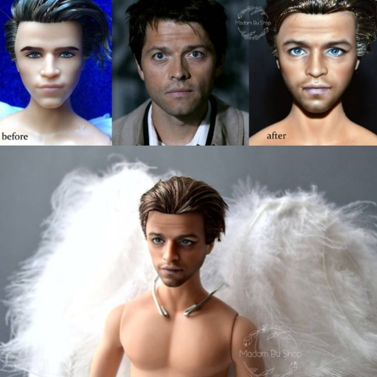 Castiel Supernatural doll repainted by Madam Bu