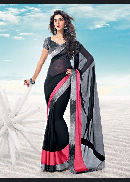 R Rajkumar Black Chiffon Saree on US$ 44.56 On sale - ethnic-bargains.blogspot.co.uk/2014/02/price-drop-r-rajkumar-black-chiffon.html