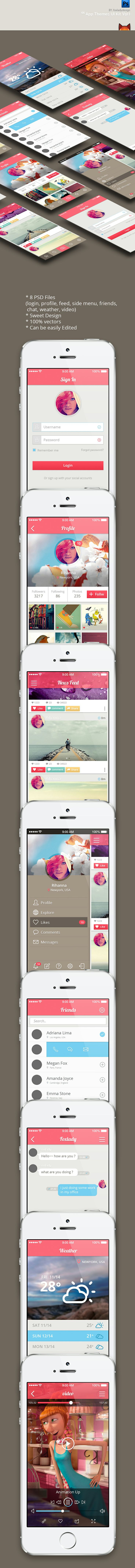This is Creative App themes ui kit. login, profile, feed, side menu, friends, chat, weather, video 8set sweet style design. you can be easily edited. enjoy :-)
