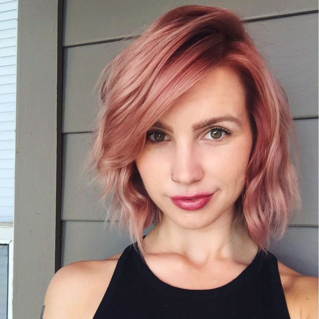 Aveda colorist Julie shines in a pretty shade of strawberry pink. Transition your blonde from summer to fall with a fun twist on the pastel trend.