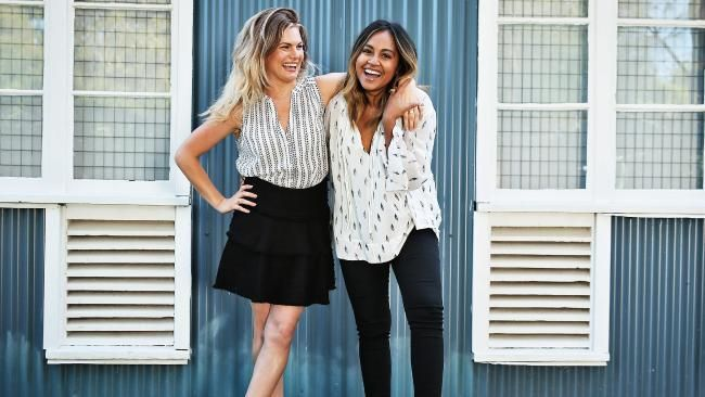 Bonnie Sween and Jessica Mauboy on the set of the new Channel 7 drama The Secret Daughter. PICTURE Sam Ruttyn - NEWS.com.au