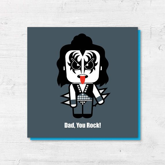 Fathers Day Card  Gene Simmons  Dad You Rock