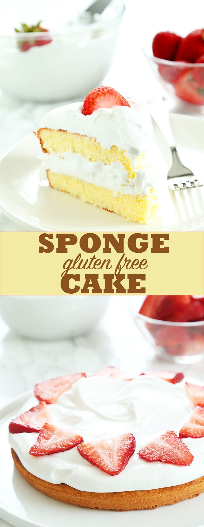 Light and airy gluten free sponge cake. Serve it with fresh whipped cream and strawberries on a hot day. Perfect for Memorial Day, or any day!