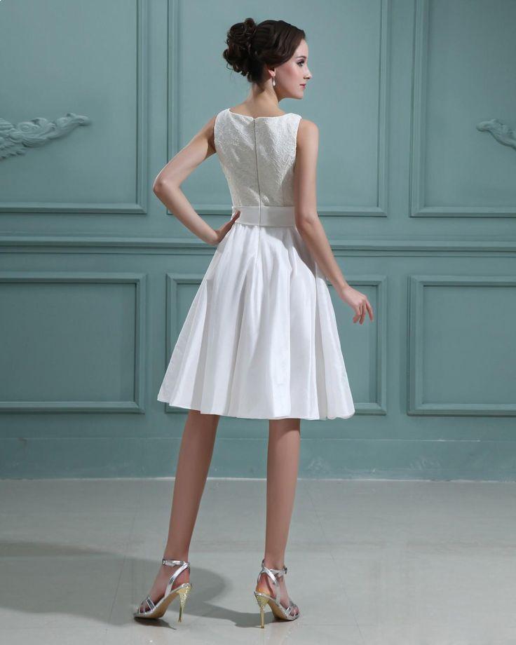 Taffeta Bateau knee length Lace Mini Wedding Dress,Style No.0bg02405,US$260.98   Read More:    http://www.wholesale-lucky.com/index.php?r=taffeta-bateau-knee-length-lace-mini-wedding-dress.html