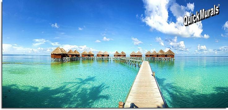 Yes Yes Yes! Maldives Beach Resort Panoramic Wall Mural