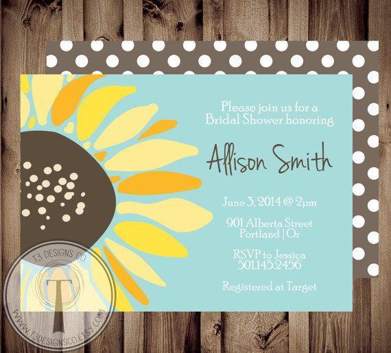 Sunflower Bridal Shower Invitation Wedding Shower by T3DesignsCo, $12.99