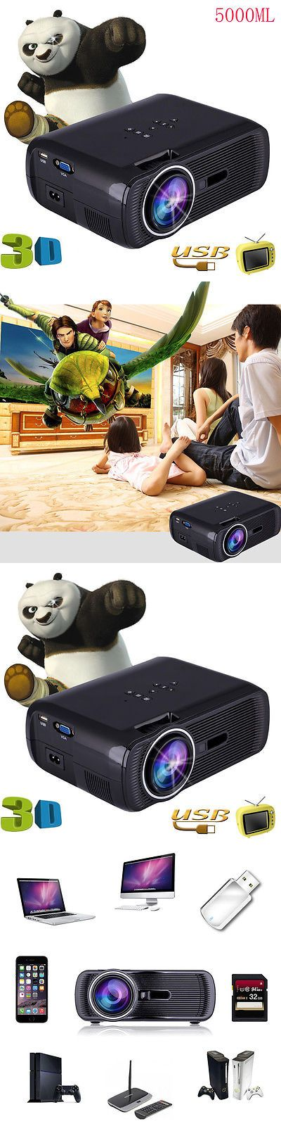 Home Theater Projectors: 7000 Lumens Full Hd 1080P Home Cinema Theater Led Lcd 3D Projector Hdmi 1280X800 BUY IT NOW ONLY: $67.95