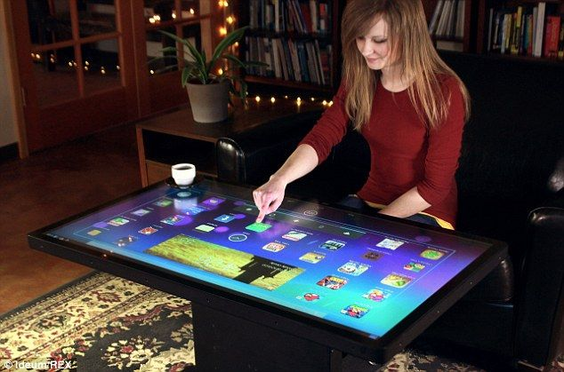 The Ideum touchscreen table comes in 32-inch and 46-inch models, pictured, with prices starting at $6,950 (£4,175). It is due to go on sale later this year and can be used to play games, use apps and wirelessly control other smart devices in the home