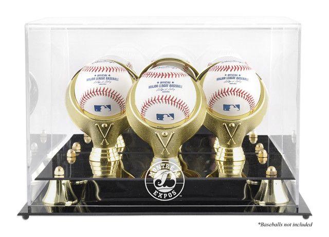 Montreal Expos Golden Classic Three Baseball Logo Display Case