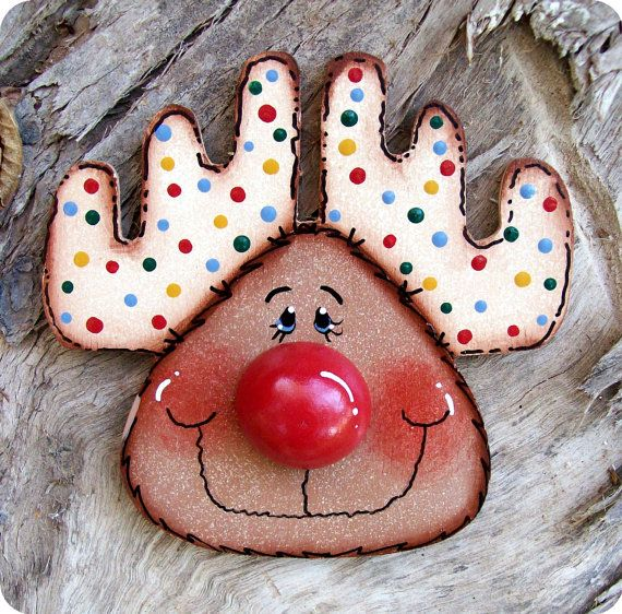 Big Nose Reindeer Ornament by CountryCharmers on Etsy, $7.25