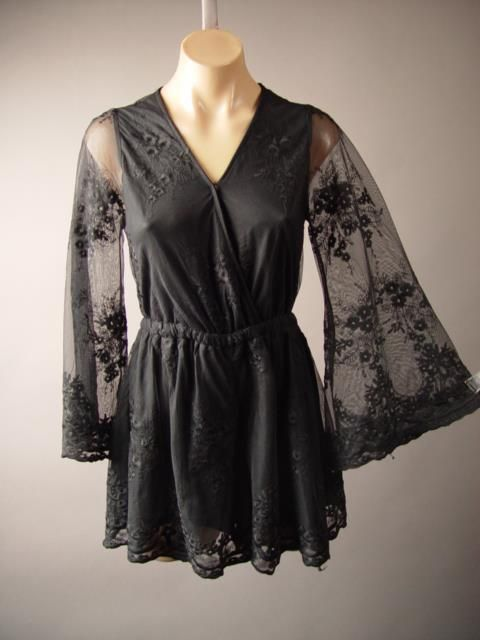 Faux Wrap Black Embroidered Lace Dress Short Evening Playsuit 253 mv Romper M L | Clothing, Shoes & Accessories, Women's Clothing, Jumpsuits & Rompers | eBay!