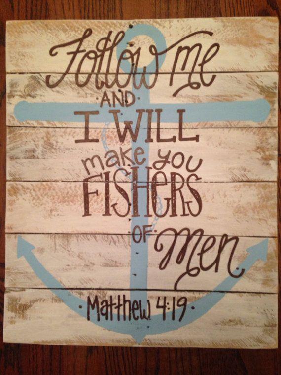 Wood Repurposed Pallet Art - wall decor- matthew 4:19- anchor - fishers if men Bible verse
