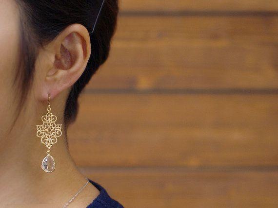 Renaissance gouden Drop Oorbellen / drop oorbellen bruidsmeisje sieraden, daling van de crystal, dagelijks oorbellen / E235GT