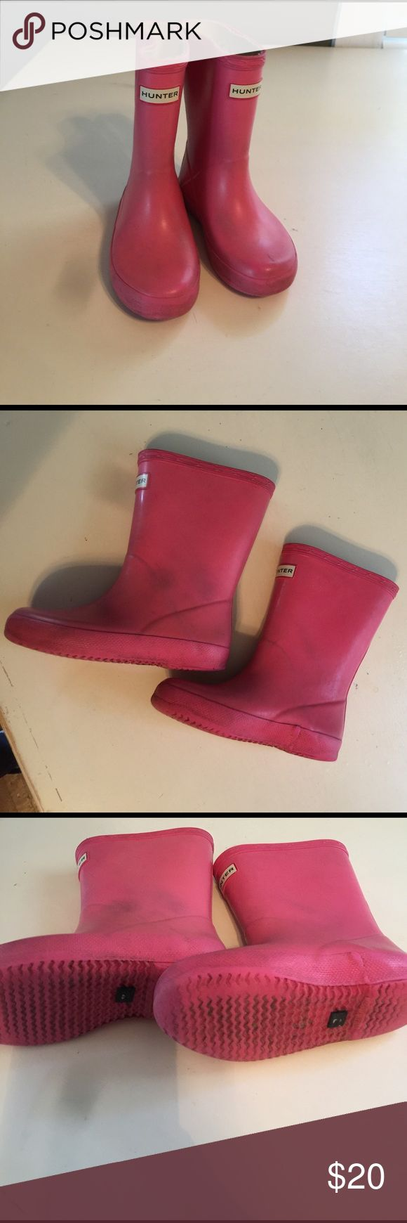Girls Hunter Boots EUC boots. Worn with a lot of love! Hunter Boots Shoes Winter & Rain Boots