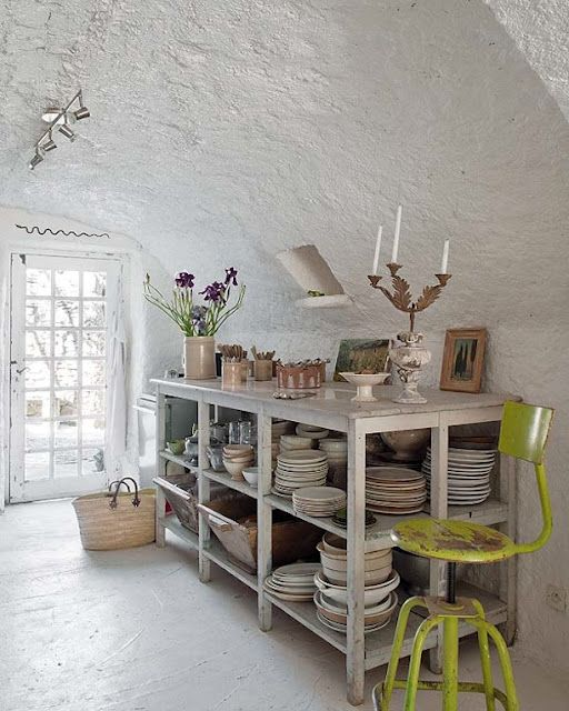 white with a small pop of neon: Open Shelves, Plates, Plaster Wall, French House, Kitchens Islands, French Home, Kitchens Storage, Kitchens Stools, Provence France