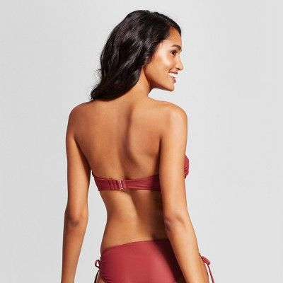 Women's Lace Up Bandeau Bikini Top - Xhilaration Sienna D/DD, Brown