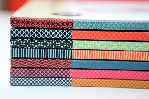 Use It To Cover Book Spines. | 56 Adorable Ways To Decorate With Washi Tape (I CANNOT WAIT TO DO THIS - ALTHOUGH I NEED MORE WASHI TAPE. . .)