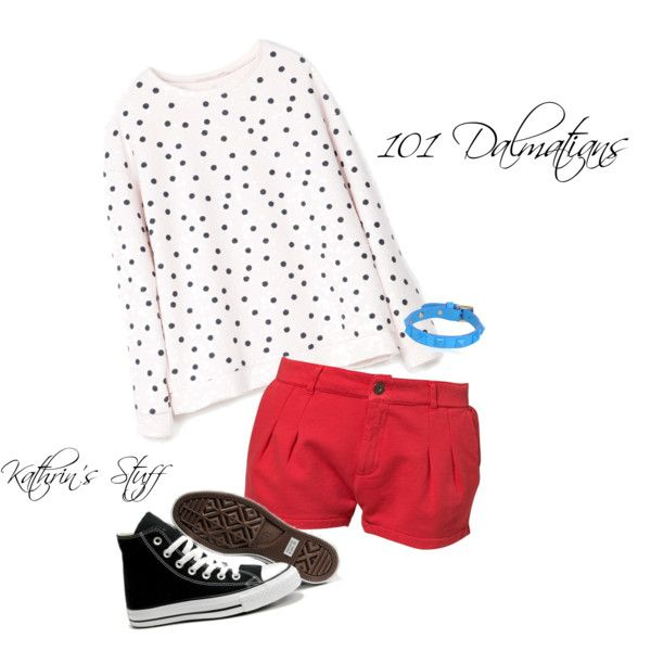 101 Dalmatians by kathrinstuff on Polyvore featuring Bershka, Praio, Converse, Valentino, PolkaDots, disney, 101Dalmatians and strret