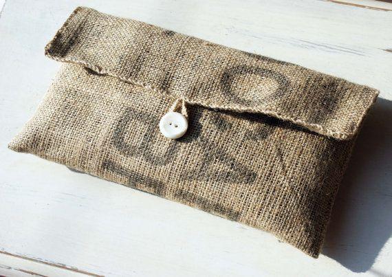 Handmade Coffee Bean Sack Cloth Bag // Burlap Clutch Bag // Recycled Hessian Clutch Bag // Coffee Bean Clutch Bag // Tablet Pouch