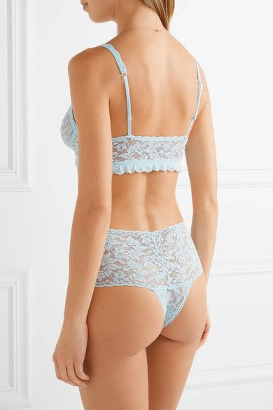 Hanky Panky - Retro Stretch-lace Soft-cup Bra - Sky blue - medium