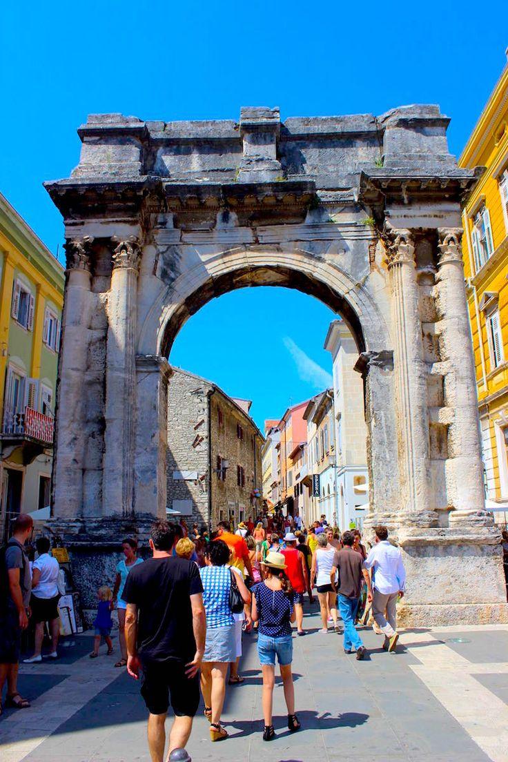 The Roman gates entering the ancient city of Pula Croatia