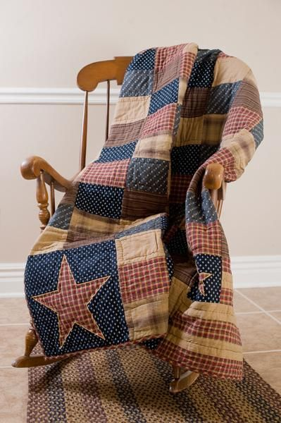 Country Primitive Americana Decor | ... Patriotic Patch Quilted Throw & Pillow Set Primitive Country Americana