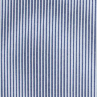 Dark Blue Candy Striped Stretch Cotton Poplin