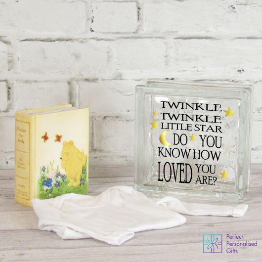Twinkle Twinkle New Baby LED Glass Block.    Fun and unique this makes a wonderful gift for any new baby and their parents. It is beautiful both in the day and then at night takes on a beauty of its own as with soft glowing fairy lights.    This is a perfect gift to add to a new baby's nursery, this item looks great on a shelf or bookcase.