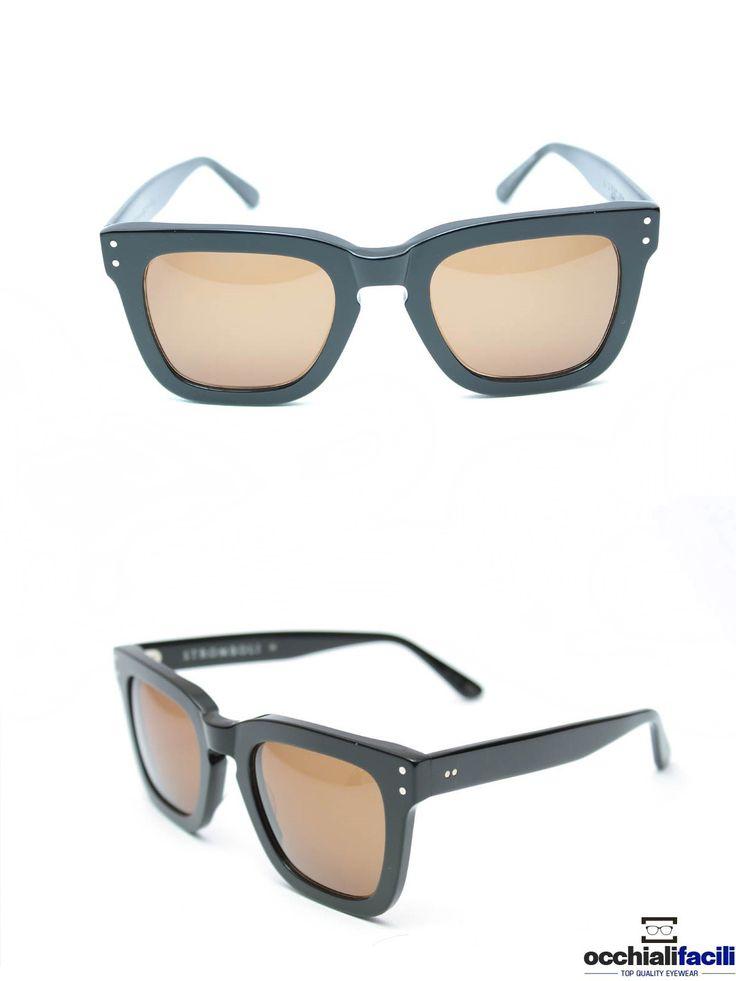 Occhiali da sole G-Sevenstars Stromboli N forma oversize in celluloide nero lucido con lenti color bronzo chiaro. http://www.occhialifacili.com/prodotto/occhiali-da-sole-g-sevenstars-stromboli-n/