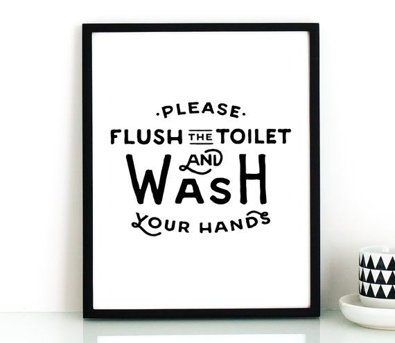 bathroom PRINTABLE art Flush the toilet & wash by TheCrownPrints