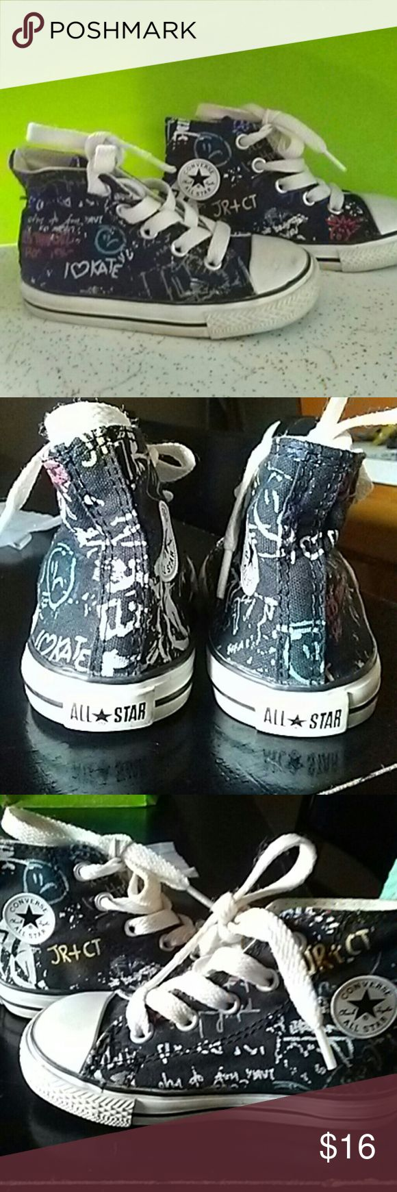 Converse- Back to school SALE So cute black background with graffiti on them can be boy or girls please ask questions I also love offers. I rarely decline offers Converse Shoes Sneakers
