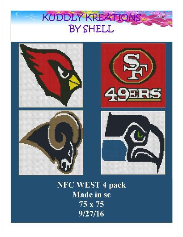 (4) Name: 'Crocheting : NFC WEST 4 PACK Crochet Graphgan