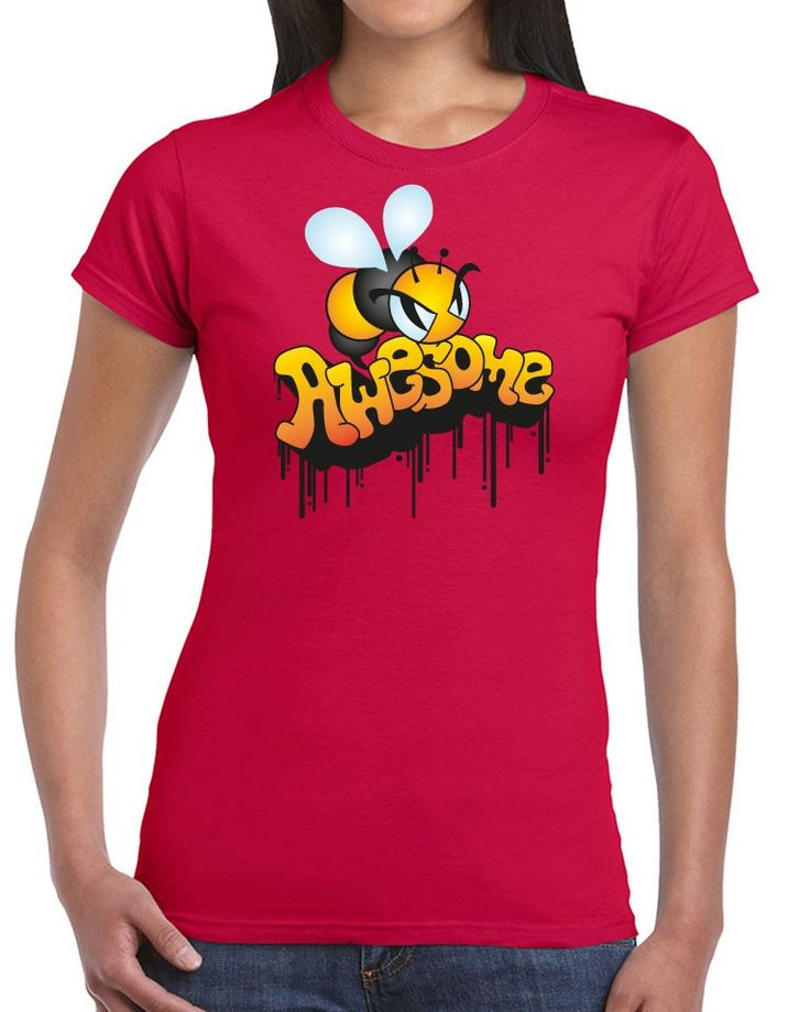Awesome Tshirts - Be Awesome T-shirt - Ladies Cherry Red T-shirt - $35