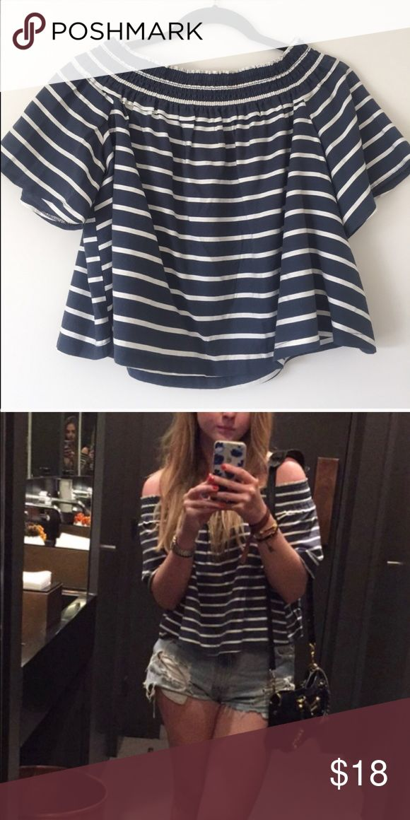 TOPSHOP Off Shoulder Striped Bardot Top Blouse Super cute top. Re-posting because I own too many off shoulder tops now. :P Topshop Tops