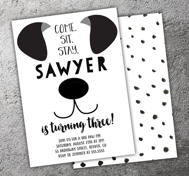 Printable Black and White Puppy Dog Birthday Invitation   Modern Puppy Paw-ty   Kids 1st Birthday Party   Thank You Card   Cupcake Toppers   Favor Tag   Food Labels   Candy Bar Wrapper   Photo Props   Signs   Banner   DIY Party Package Decor Available!