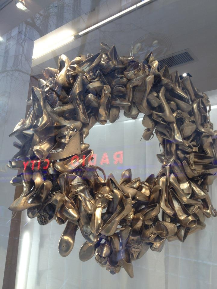 Shoe wreath, shoe store opposite Radio City Music Hall, NY, December.