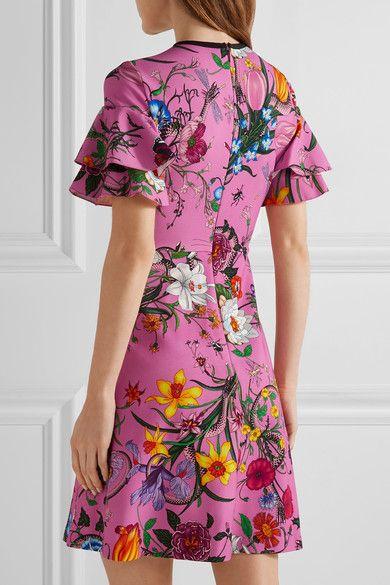 Gucci - Ruffled Printed Stretch-jersey Mini Dress - Pink