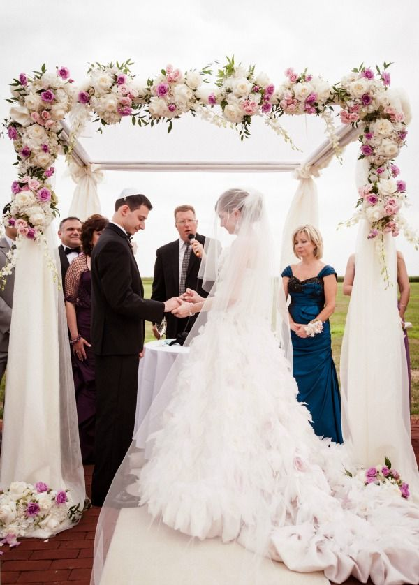 Soft, Romantic Jewish Wedding Chuppah with Cascading Flowers - mazelmoments.com