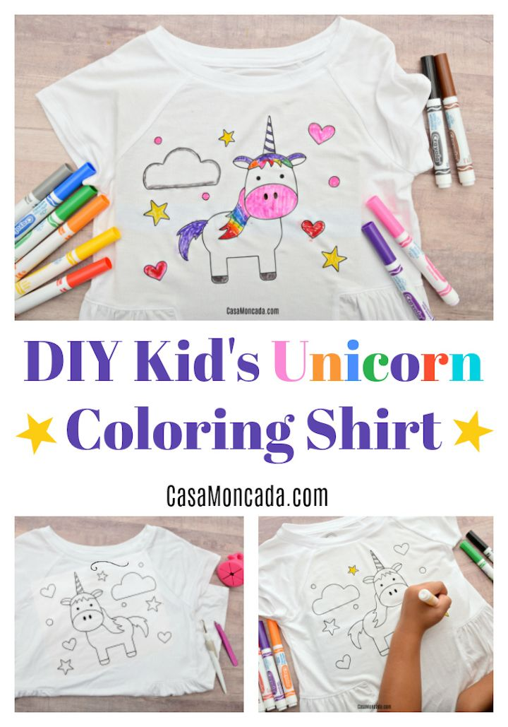Kid S Unicorn Coloring Shirt With Htv Diy Gifts For Kids