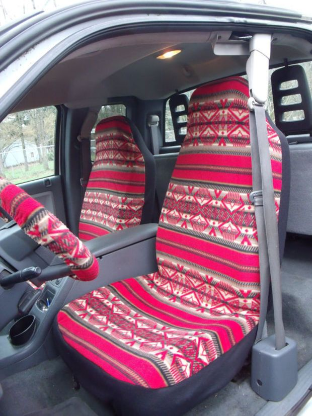1 Set Of Red Tribal Print Seat Covers And Piece Pf Steeling Wheel Cover Custom