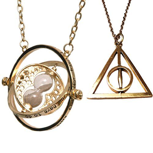 Harry Potter Jewellery. Hermione Granger Gold Tone Horcrux Spinning Time Turner and Gold Spinning Deathly Hallows Necklace Orion Creations http://www.amazon.co.uk/dp/B00MPSNA2U/ref=cm_sw_r_pi_dp_bSFTwb069EQ93