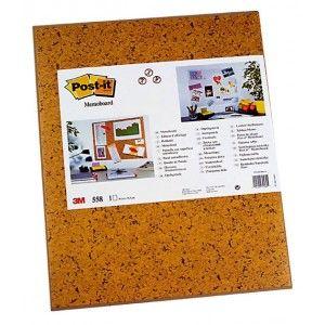 Panel autoadhesivo Post-it de color marrón imitación a corcho. Sobre su superficie se puede pegar y despegar todo tipo de documentos sin dañarlos (gráficos, planos, notas informativas, avisos etc.)