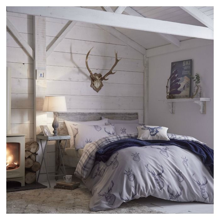 Stag Tartan Reversible Duvet Cover Set In Navy Love This