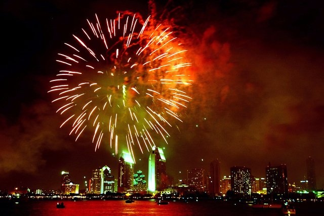 san diego july 4th fireworks show malfunctions (video)