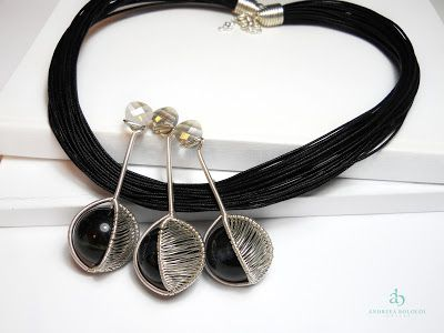 "Andreea Bololoi Jewelry: ""Something Geometric"" Necklace #necklace #geometric #sphere #black #silverplated #wire #wirework #onyx #crystals #thread #cotton #handmade #contemporaryjewelry"