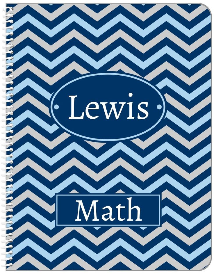 Personalized Chevron Notebook - Blue and Grey - Oval Nameplate