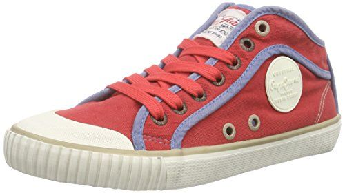 Pepe Jeans London INDUSTRY BASIC16, Damen Hohe Sneakers, Rot (258RED HOT), 39 EU - http://on-line-kaufen.de/pepe-jeans/39-eu-pepe-jeans-industry-basic16-damen-hohe