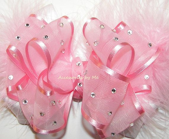 High Glitz Pageant Hair Bow Light Pink White Organza Satin Marabou Feathers Girls Accessory Wedding 1st Birthday Party Boutique M2M Occasion