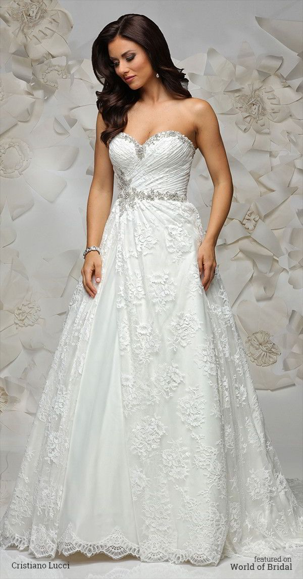 This lovely lace gown complete with asymmetrical draping and crystal embellishment on side waist and sweetheart neckline.
